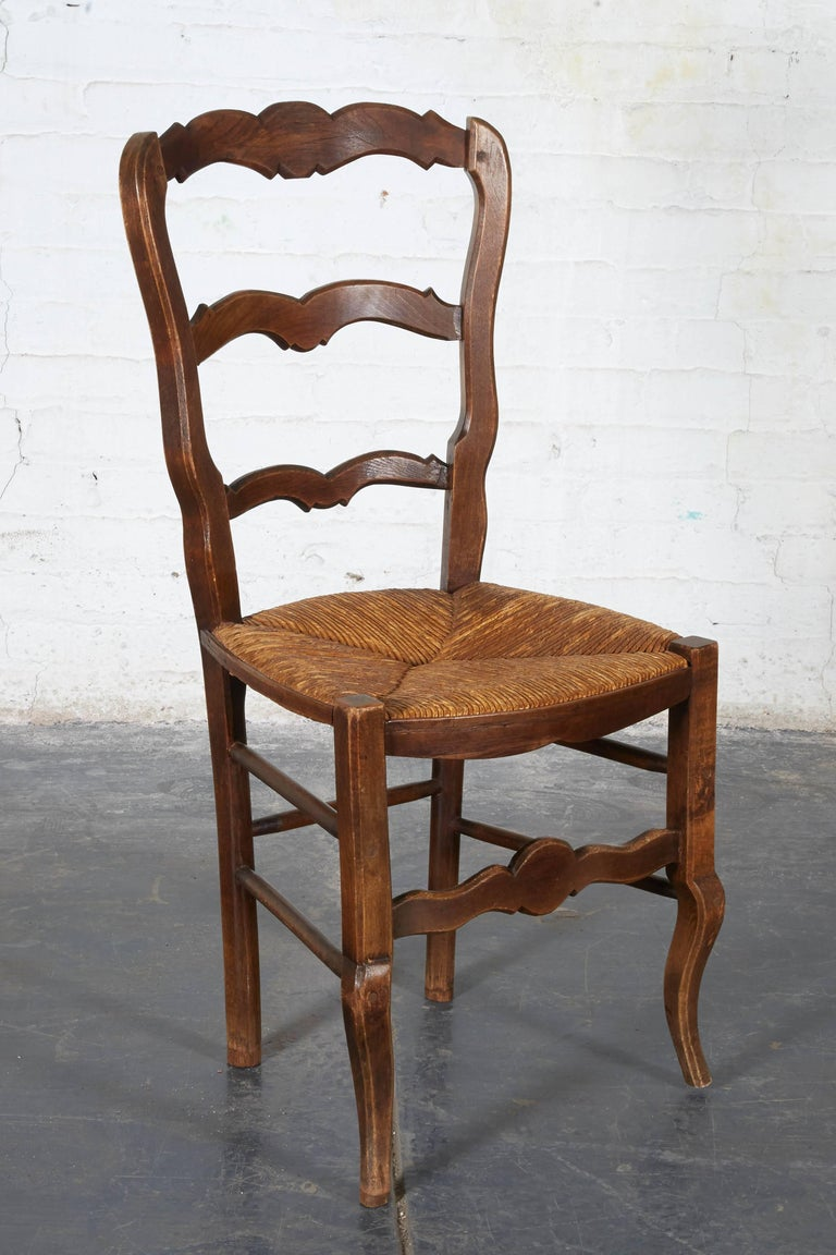 Pair of 19th Century French Louis XV Provincial Walnut Rush-Bottomed Side Chairs For Sale 2