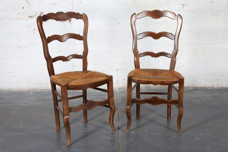 Pair of 19th Century French Louis XV Provincial Walnut Rush-Bottomed Side Chairs For Sale 3