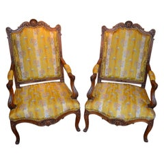 Pair of 19th Century French Louis XV Style Carved Beechwood Armchairs
