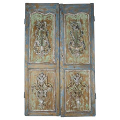 Pair of 19th Century French Louis XV Style Carved Painted Doors