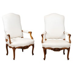 Pair of 19th Century French Louis XV Style Fauteuils with Carved Aprons
