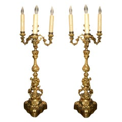 Pair of 19th Century French Louis XV Style Gilt Bronze Candelabras