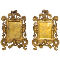 Pair of 19th Century French Louis XV Style Gilt Bronze Picture Frames