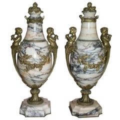 Pair of 19th Century French Louis XV Style Marble and Bronze Urns