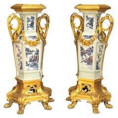 Pair of 19th Century French Louis XV Style Porcelain and Bronze Doré Pedestals