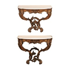 Pair of 19th Century French Louis XV Style Wall Mounted Console Tables