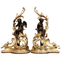 Pair of 19th Century French Louis XV Two-Tone Bronze Andirons with Figures