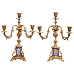 Pair of 19th Century French Louis XVI Bronze Dore and Porcelain Candelabras