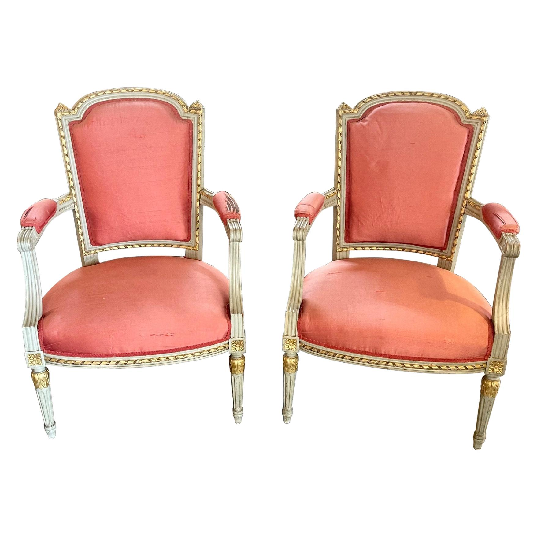 Pair of 19th Century French Louis XVI Carved and Painted Armchairs