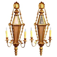 Pair of 19th Century French Louis XVI Carved Giltwood and Mirrored Wall Sconces