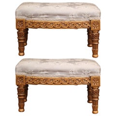 Pair of 19th Century French Louis XVI Carved Giltwood Footstools