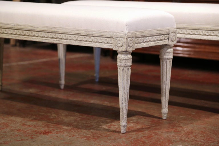 Hand-Carved Pair of 19th Century French Louis XVI Carved Grey Painted Upholstered Benches
