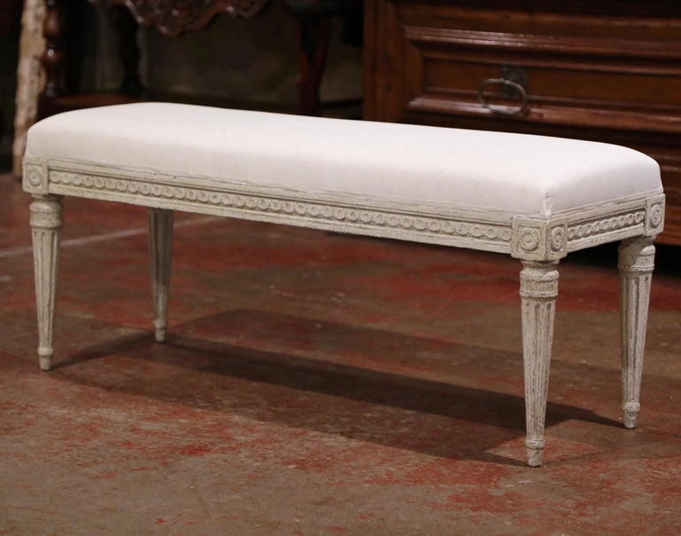 Pair of 19th Century French Louis XVI Carved Grey Painted Upholstered Benches In Excellent Condition In Dallas, TX