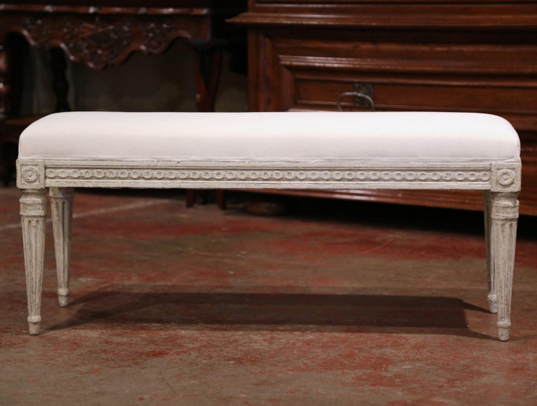 Fabric Pair of 19th Century French Louis XVI Carved Grey Painted Upholstered Benches