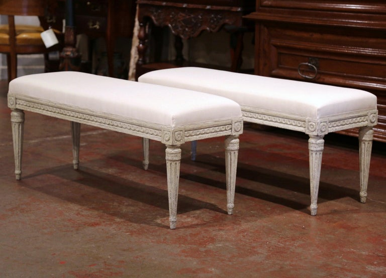 Pair of 19th Century French Louis XVI Carved Grey Painted Upholstered Benches 1
