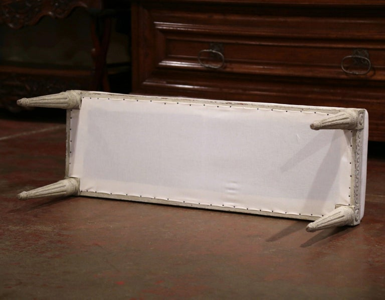 Pair of 19th Century French Louis XVI Carved Grey Painted Upholstered Benches 2