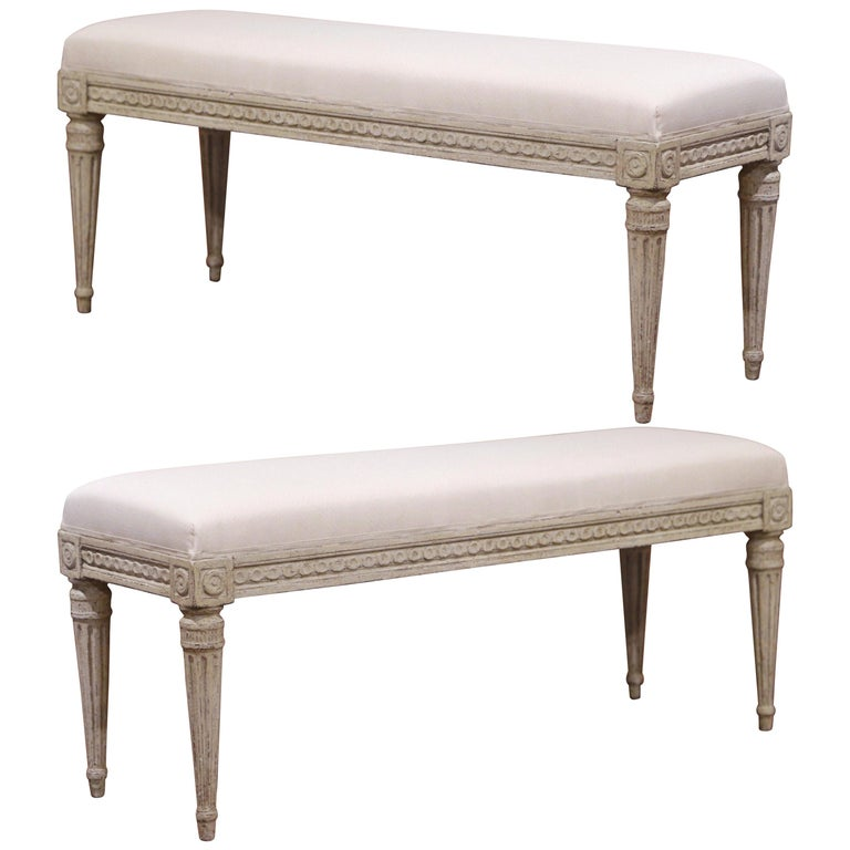 Pair of 19th Century French Louis XVI Carved Grey Painted Upholstered Benches