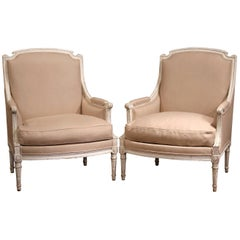 Pair of 19th Century French Louis XVI Carved Painted Armchairs with Beige Fabric
