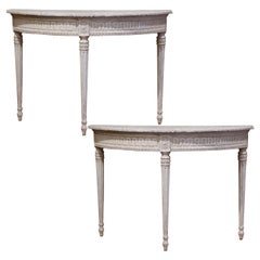 Pair of 19th Century French Louis XVI Carved Painted Demilune Console Tables