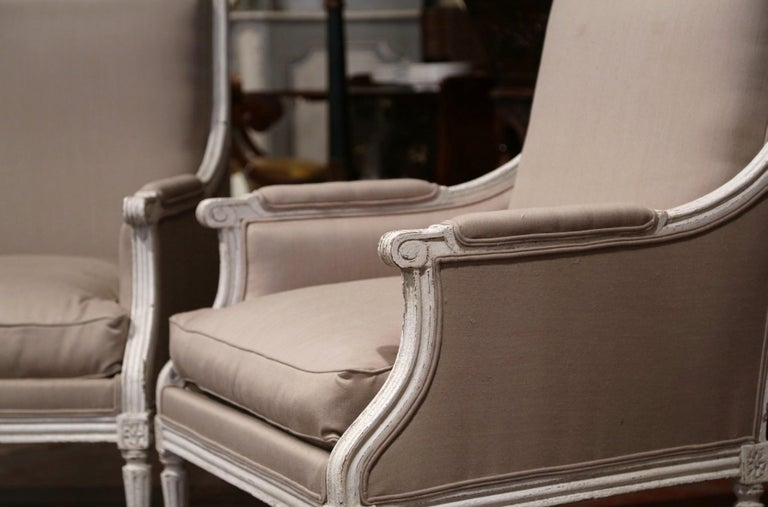 Pair of 19th Century French Louis XVI Carved Painted Upholstered Armchairs In Excellent Condition For Sale In Dallas, TX
