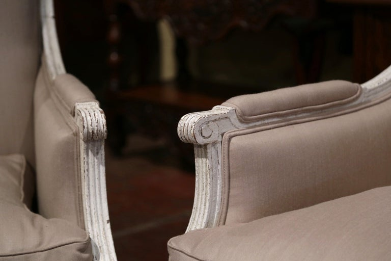 Pair of 19th Century French Louis XVI Carved Painted Upholstered Armchairs For Sale 2