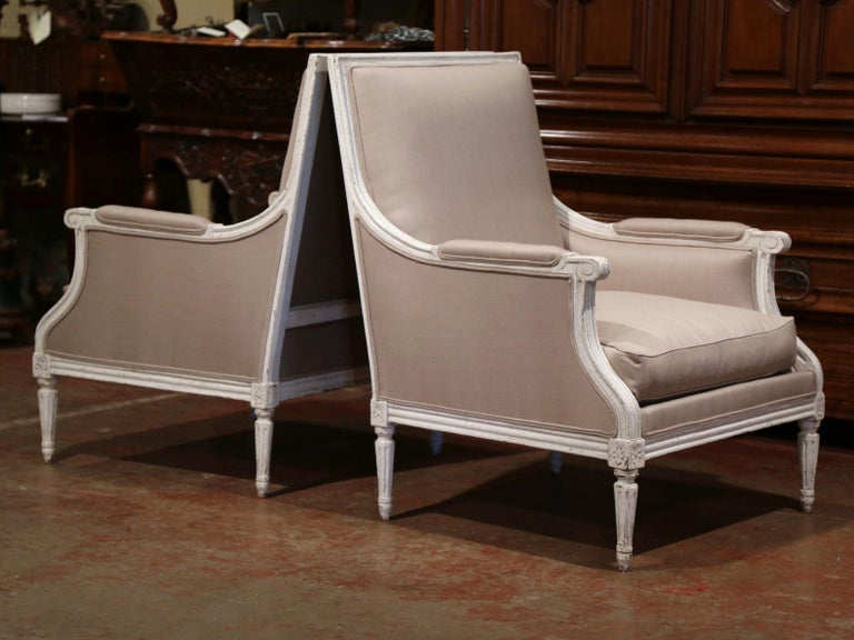 Pair of 19th Century French Louis XVI Carved Painted Upholstered Armchairs For Sale 3