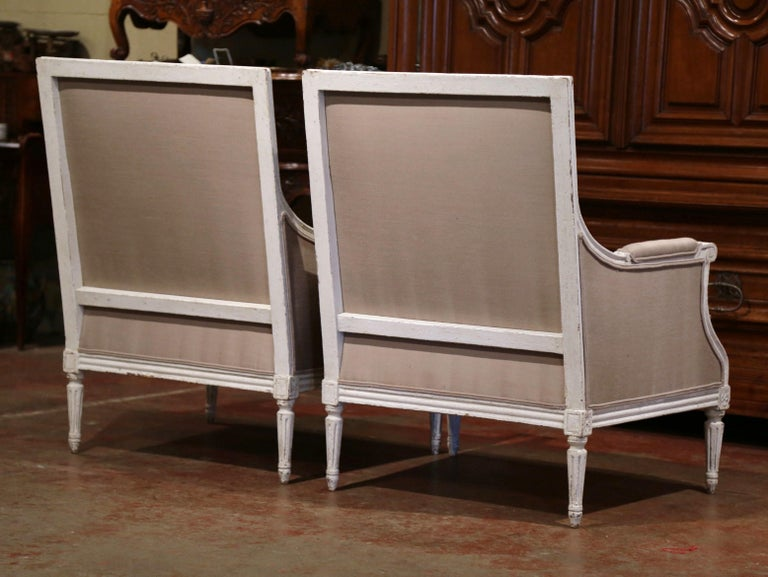 Pair of 19th Century French Louis XVI Carved Painted Upholstered Armchairs For Sale 4