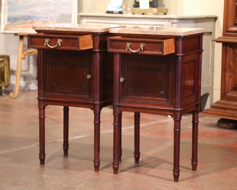 Pair of 19th Century French Louis XVI Carved Walnut and Marble-Top Nightstands For Sale 3