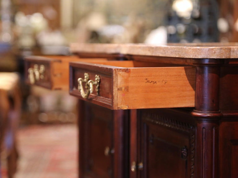 Pair of 19th Century French Louis XVI Carved Walnut and Marble-Top Nightstands For Sale 4