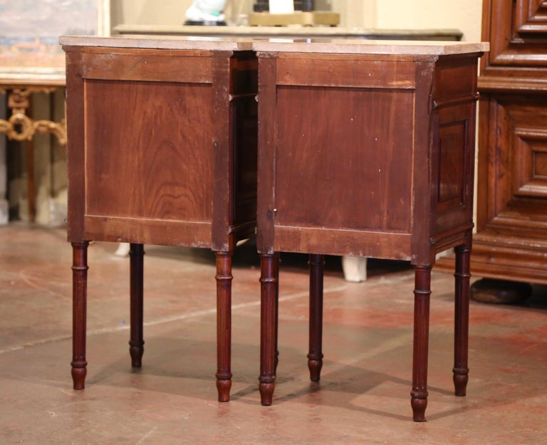 Pair of 19th Century French Louis XVI Carved Walnut and Marble-Top Nightstands For Sale 5