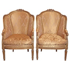 Pair of 19th Century French Louis XVI Gilt Carved Bergeres