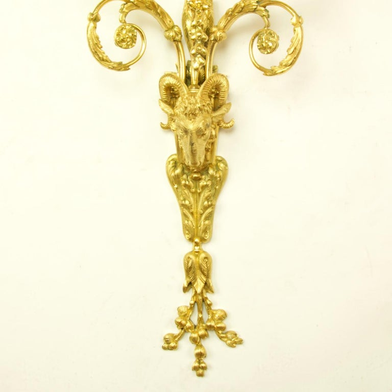Pair of 19th Century French Louis XVI Goat Heads Three-Light Wall Lights/Sconces For Sale 1