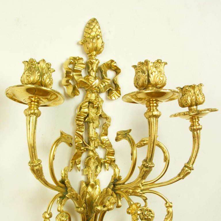 Pair of 19th Century French Louis XVI Goat Heads Three-Light Wall Lights/Sconces For Sale 2