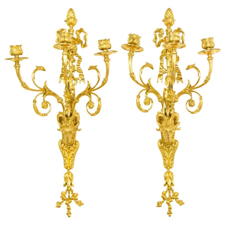 Pair of 19th Century French Louis XVI Goat Heads Three-Light Wall Lights/Sconces For Sale