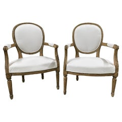 Pair of 19th Century French Louis XVI Gold and Green Armchairs