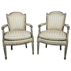 Pair of 19th Century French Louis XVI Grey Painted Upholstered Chairs