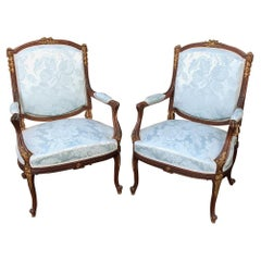 Pair of 19th Century French Louis XVI Mahogany Armchairs
