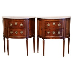 Pair of 19th Century French Louis XVI Mahogany Demi-Lune Chests with Marble Top