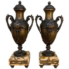 Pair of 19th Century French Louis XVI Mantel Urns on Marble Bases