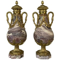 Pair of 19th Century French Louis XVI Marble and Bronze Cassolettes