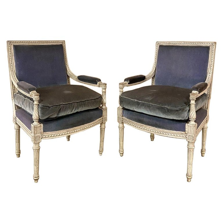 Pair of 19th Century French Louis XVI Painted Armchairs, Fauteuils For Sale
