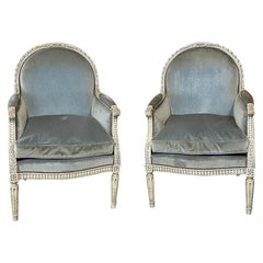 Pair of 19th Century French Louis XVI Painted Bergères, Armchairs