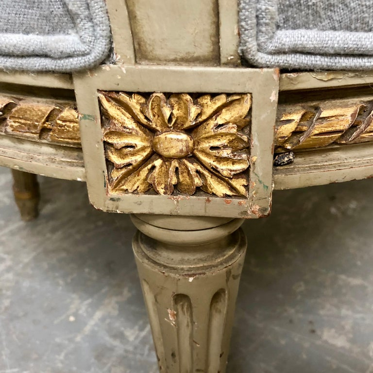 Pair of 19th Century French Louis XVI Style Bergères For Sale 4