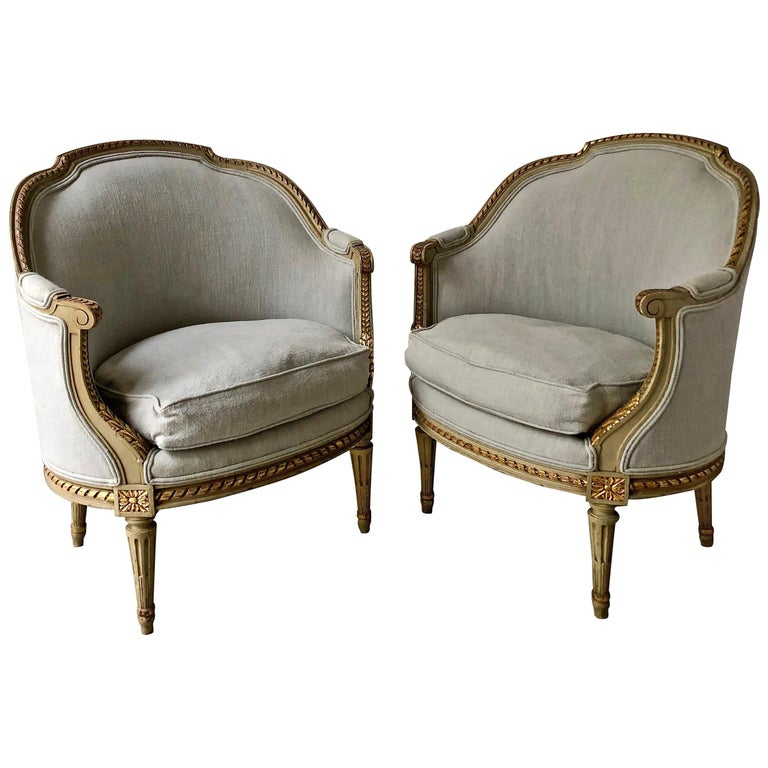 Pair of 19th Century French Louis XVI Style Bergères For Sale