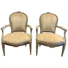 Pair of 19th Century French Louis XVI Style Carved and Painted Armchairs
