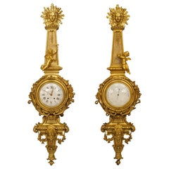Pair of 19th Century French Louis XVI Style Clock and Barometer by Raingo Freres
