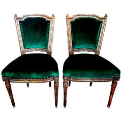 Pair of 19th Century French Louis XVI Style Giltwood Chairs