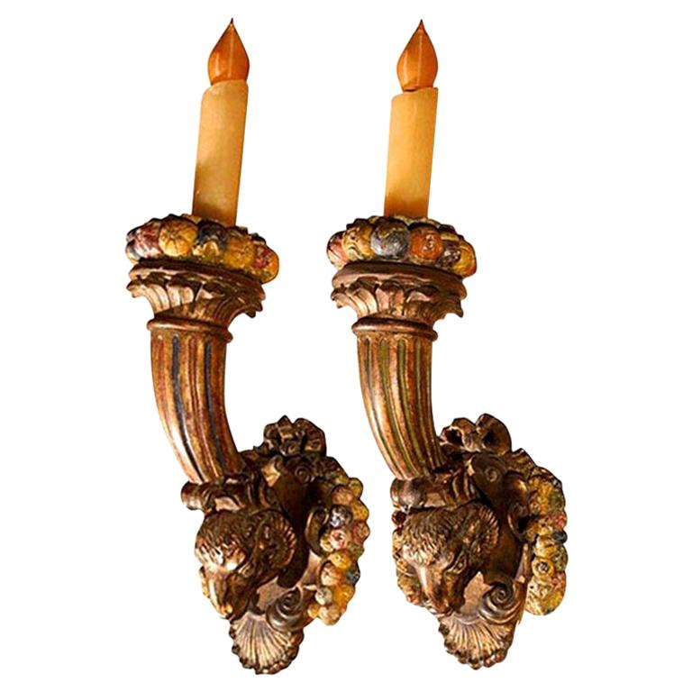 Pair of 19th Century French Louis XVI Style Giltwood Torch Sconces For Sale