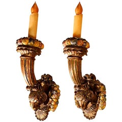 Pair of 19th Century French Louis XVI Style Giltwood Torch Sconces
