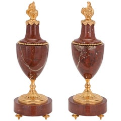 Pair of 19th Century French Louis XVI Style Marble and Ormolu Decorative Urns